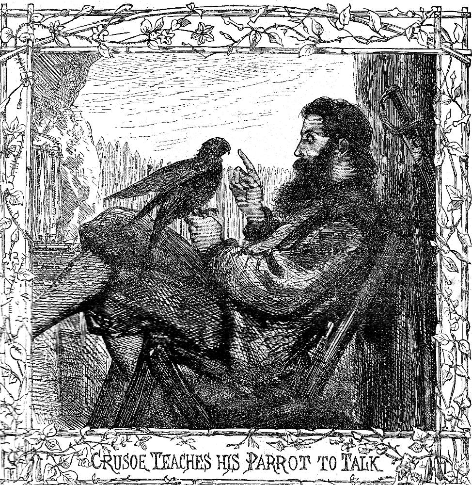 _Crusoe teaches his Parrot to talk_ for Daniel Defoe's _Adventures of Robinson Crusoe_ (1863-64)